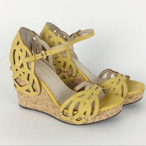Adrienne Vittadini Mustard Yellow Cork Wedges SZ 6